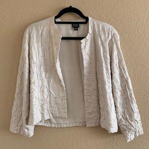 EILEEN FISHER Cream Cotton Silk Blend Blazer